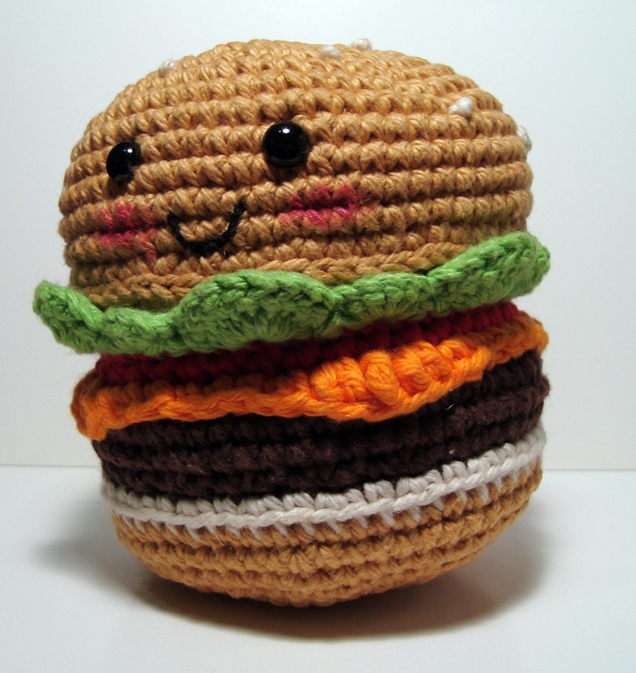 Free Amigurumi Crochet Patterns with love for the Nerdy » » Amigurumi No-Sew Hamburger or Cheeseburger