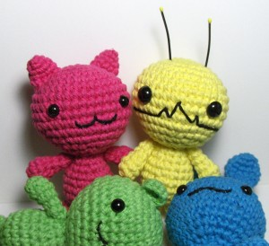 Chibi Kawaii Amigurumi Kitty, Bunny and Bear and Alien Hominid