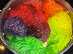 Stitch Nation Full O' Sheep in Little Lamb dyed with Kool Aid and liquid food colouring